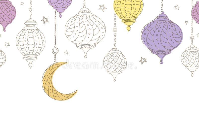 Illustrazione senza cuciture del fondo di colore della stella grafica della luna delle lampade del Ramadan royalty illustrazione gratis