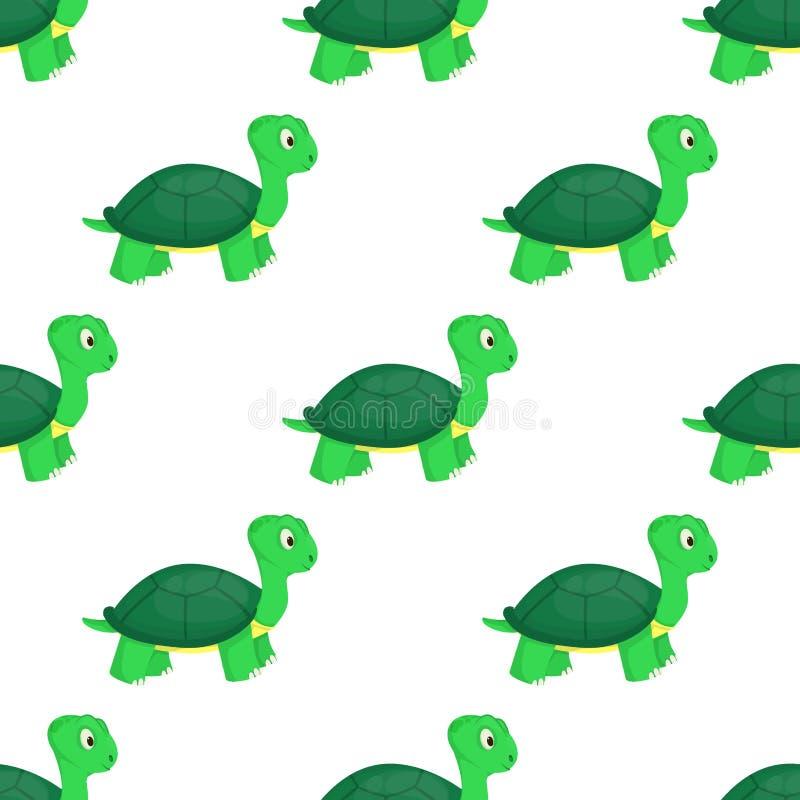 Illustrazione senza cuciture del fondo del modello dell'oceano della tartaruga di verde della natura della fauna selvatica del ma illustrazione vettoriale