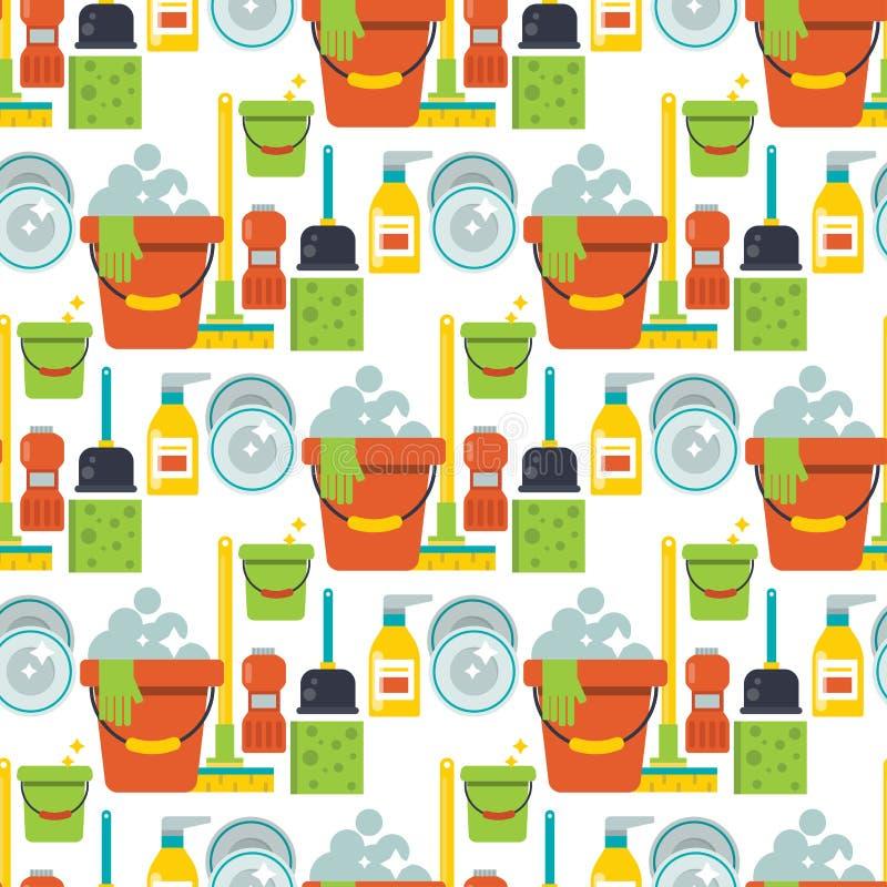 Illustrazione senza cuciture del fondo del modello della spazzola del lavoro della famiglia della casa di progetto di servizio di illustrazione di stock