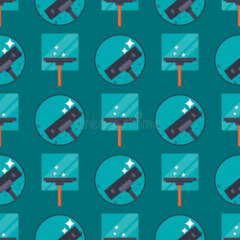 Illustrazione senza cuciture del fondo del modello della spazzola del lavoro della famiglia della casa di progetto di servizio di royalty illustrazione gratis