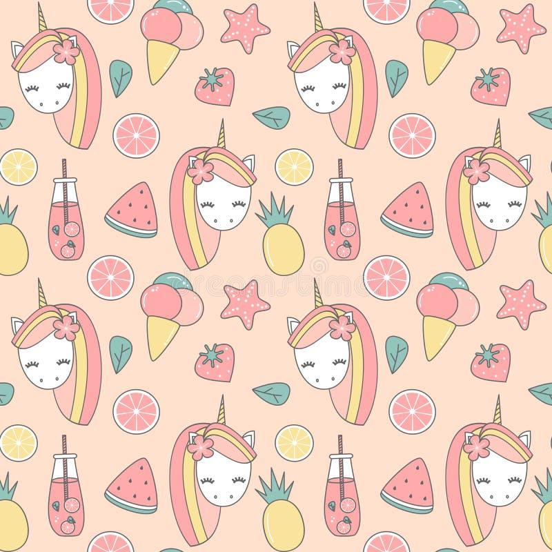 Illustrazione senza cuciture del fondo del modello di vettore di estate adorabile sveglia con l'unicorno, ananas, gelato, fetta d illustrazione vettoriale