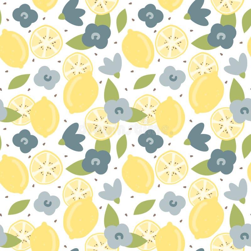 Illustrazione senza cuciture del fondo del modello di vettore di estate moderna adorabile sveglia con il limone ed i fiori disegn illustrazione di stock