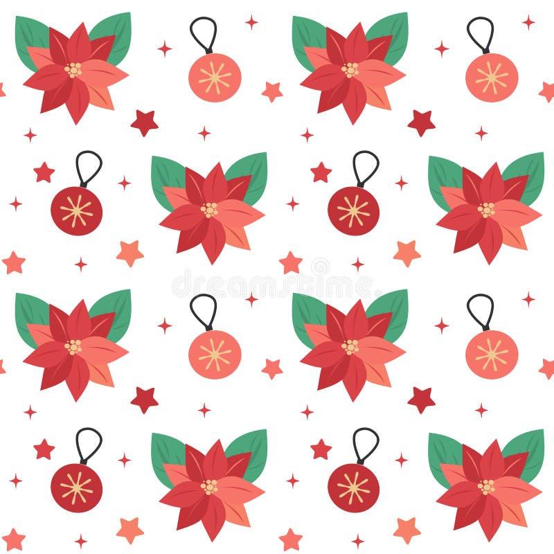 Illustrazione senza cuciture del fondo del modello di vettore di feste sveglie con i fiori della stella di Natale, le palle di na royalty illustrazione gratis