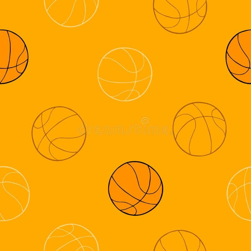 Illustrazione senza cuciture del modello del fondo arancio di arte grafica della palla di sport di pallacanestro illustrazione di stock