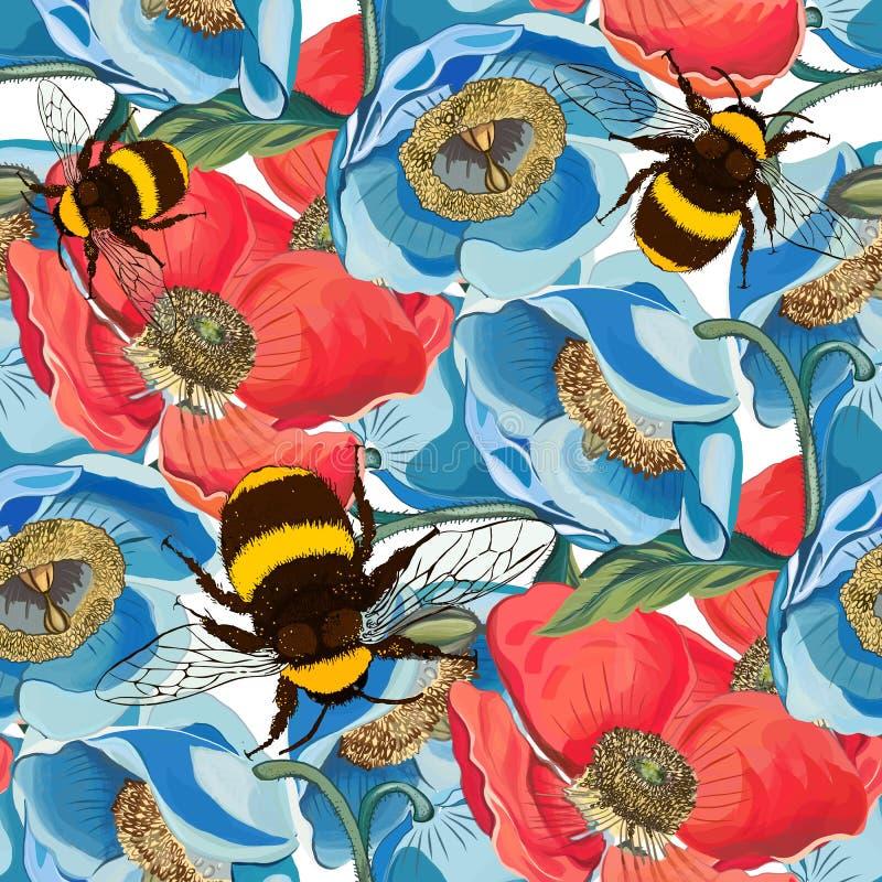 Illustrazione senza cuciture del modello di fiore royalty illustrazione gratis