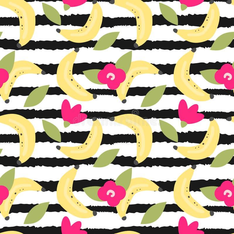 Illustrazione senza cuciture del modello di vettore di estate moderna adorabile sveglia con la banana ed i fiori disegnati a mano illustrazione vettoriale
