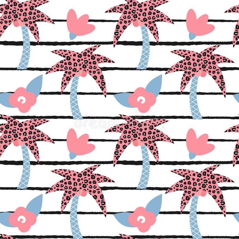 Illustrazione senza cuciture del modello di vettore di estate moderna adorabile sveglia con le palme ed i fiori disegnati a mano  illustrazione vettoriale