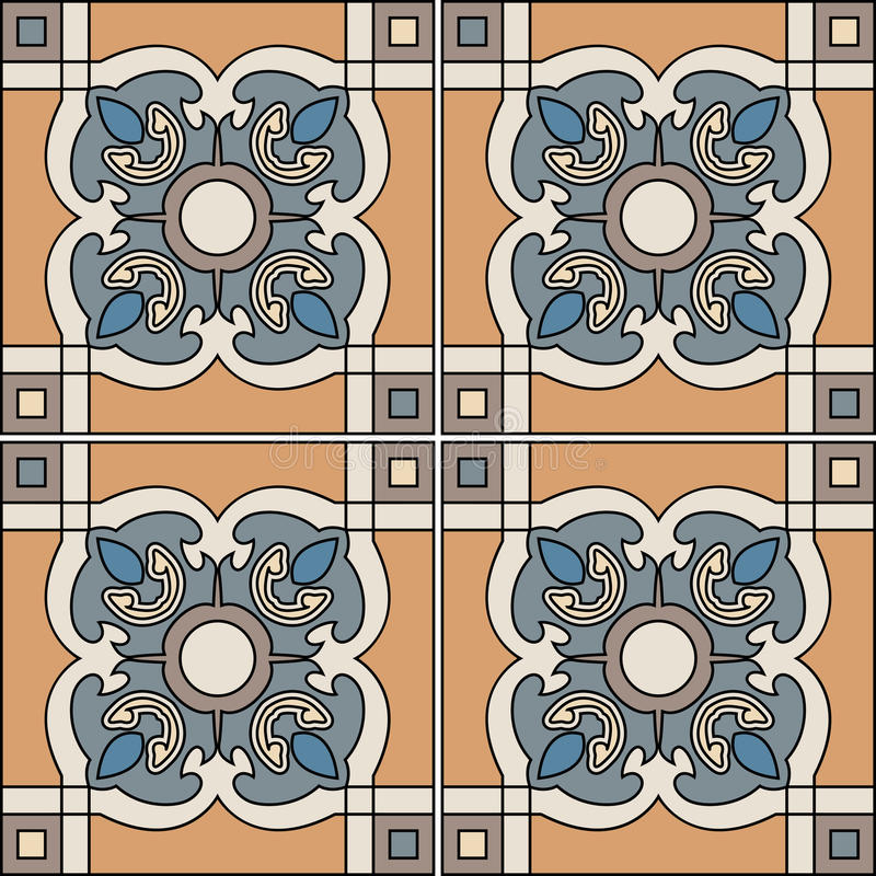Illustrazione senza cuciture del modello nello stile tradizionale - come le mattonelle portoghesi royalty illustrazione gratis
