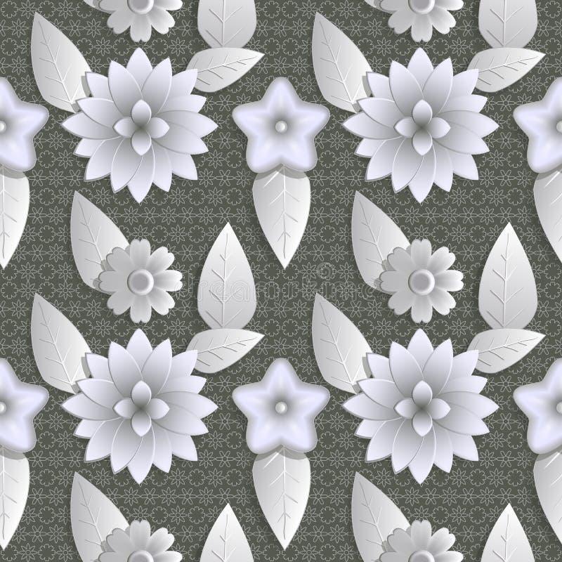 Illustrazione senza cuciture dell'estratto del fondo della natura Figura 3D, fiori, foglie illustrazione vettoriale