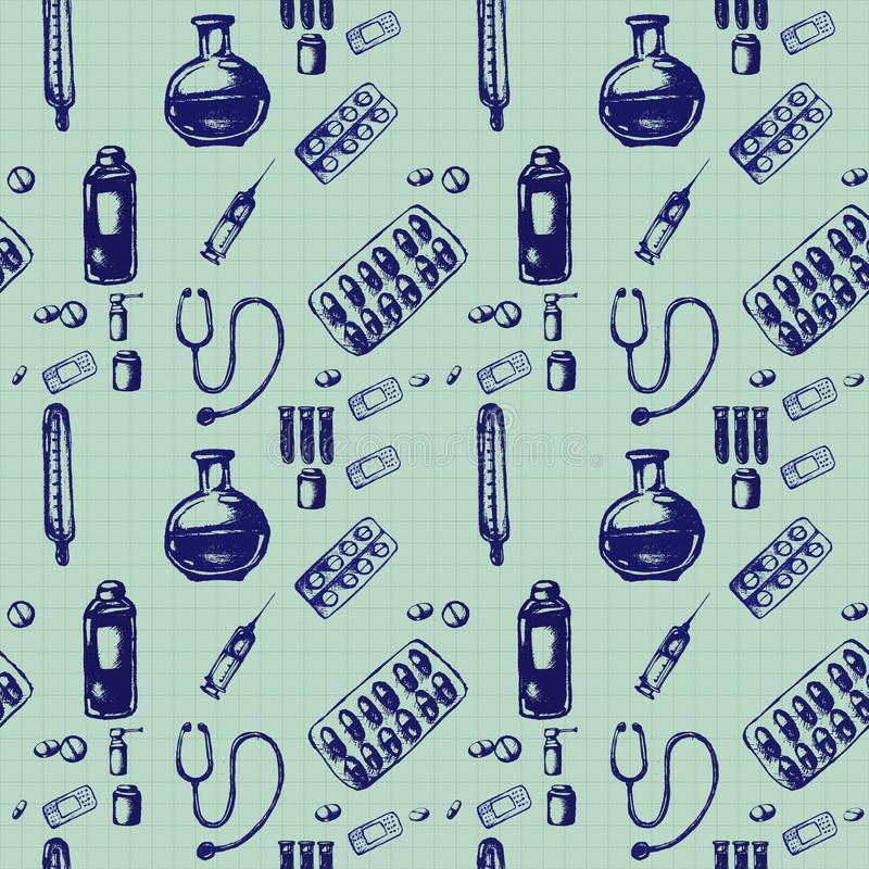 Illustrazione senza cuciture di scarabocchio di vettore Icone della medicina royalty illustrazione gratis