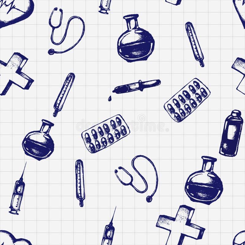 Illustrazione senza cuciture di scarabocchio di vettore Icone della medicina illustrazione di stock