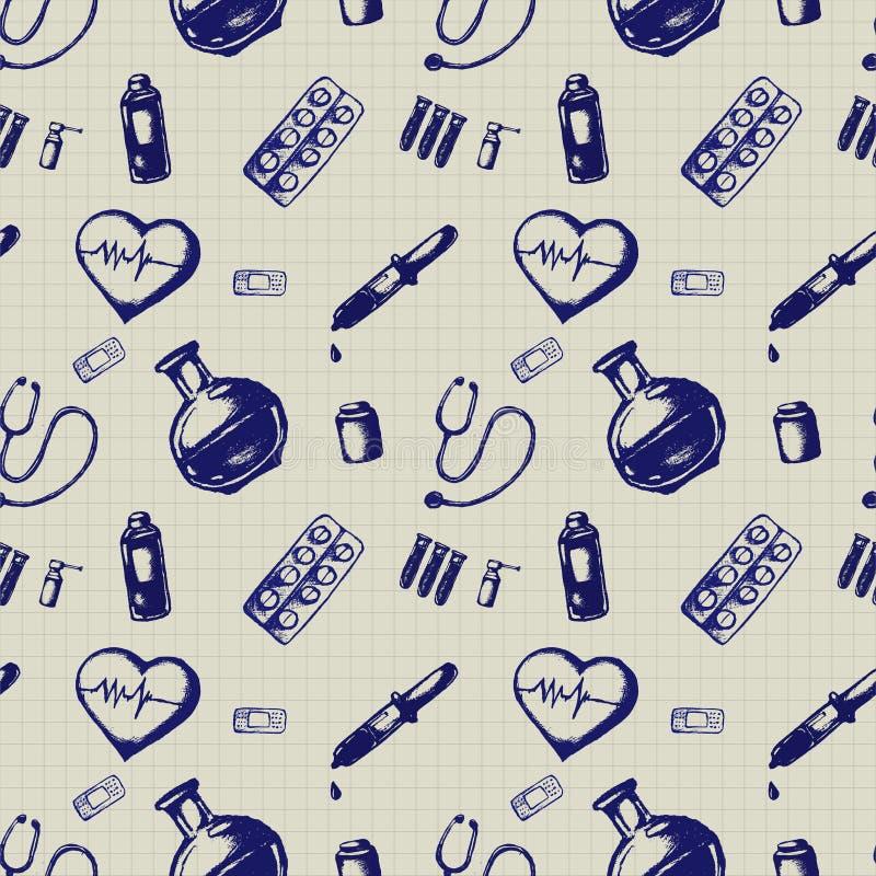 Illustrazione senza cuciture di scarabocchio di vettore Icone della medicina illustrazione vettoriale