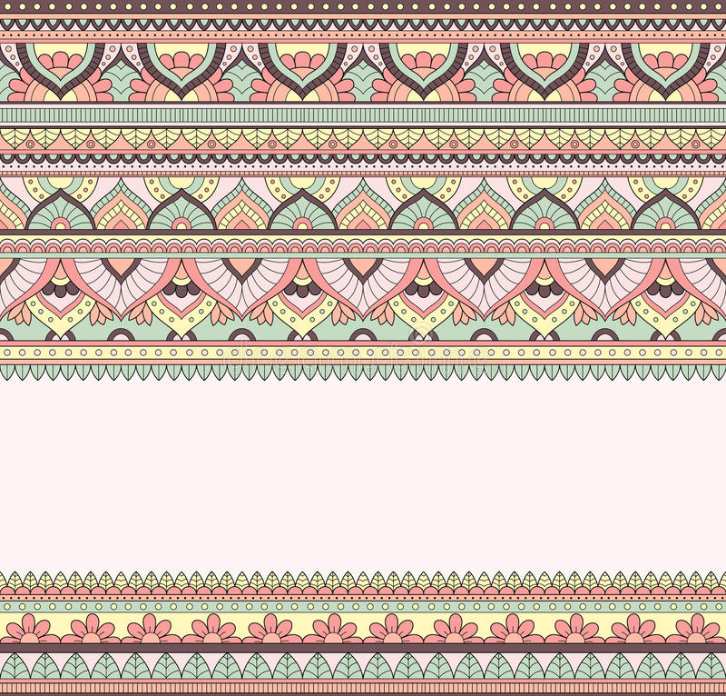 Illustrazione senza cuciture di scarabocchio, modello dello zentangle, carta da parati, fondo, struttura Indiano Orment Progettaz illustrazione vettoriale