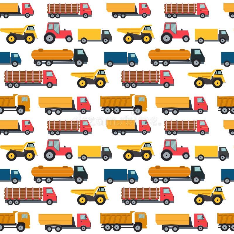 Illustrazione senza cuciture di vettore del fondo del modello delle automobili del camion illustrazione di stock