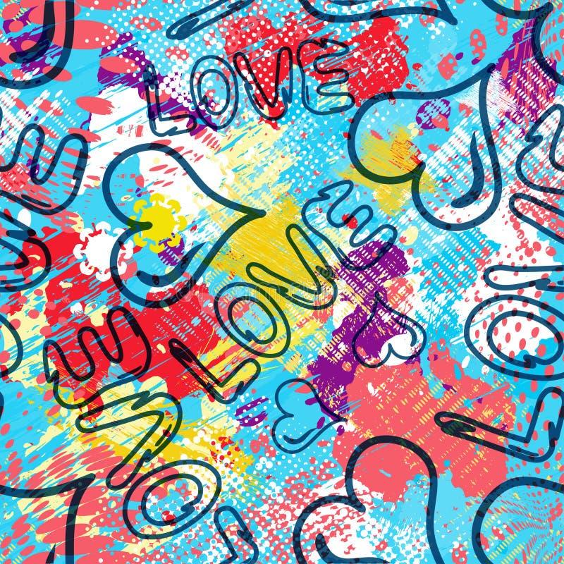 Illustrazione senza cuciture di vettore del fondo di Valentine Day dei graffiti di struttura di lerciume royalty illustrazione gratis