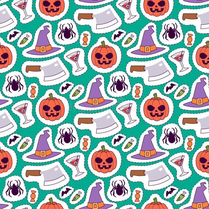 Illustrazione senza cuciture di vettore del fondo del modello di carnevale di Halloween illustrazione di stock