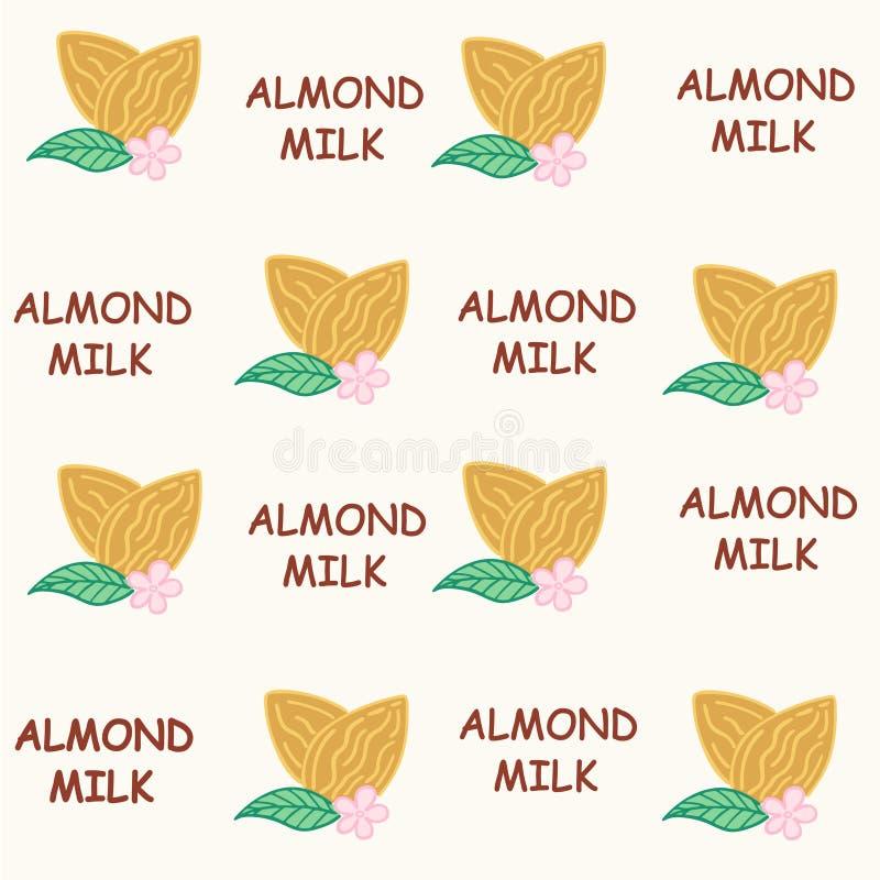 Illustrazione senza cuciture di vettore del latte della mandorla del modello illustrazione di stock