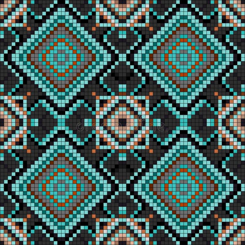 Illustrazione senza cuciture di vettore del modello del fondo geometrico d'annata dei pixel royalty illustrazione gratis