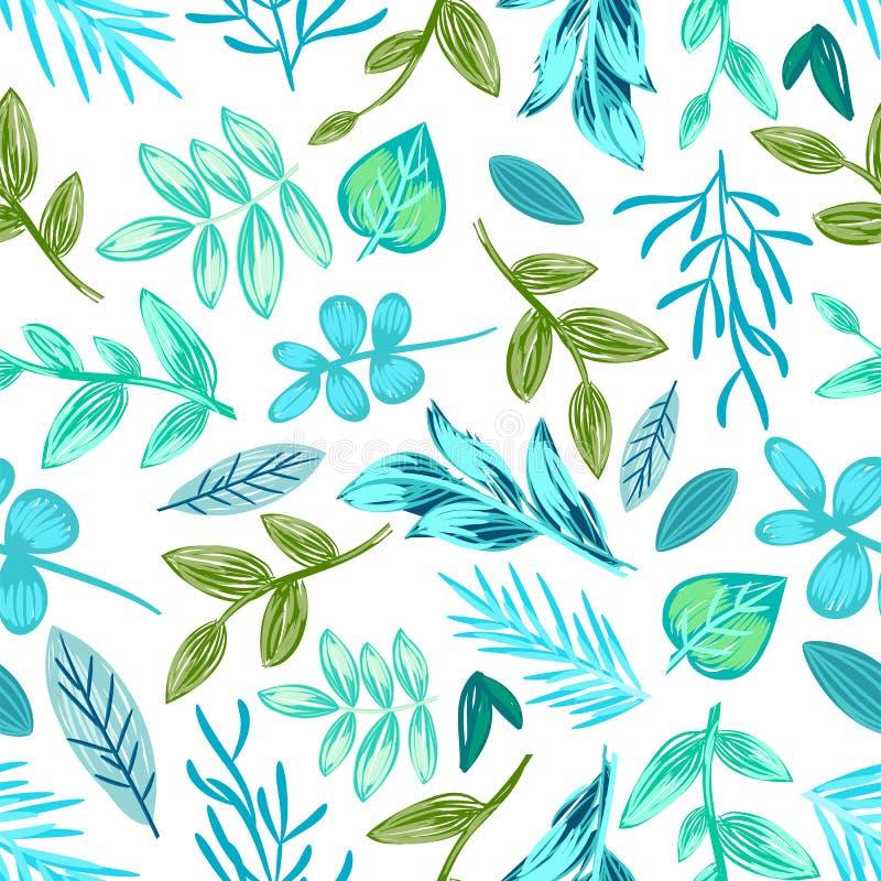 Illustrazione senza cuciture di vettore del modello delle piante tirate illustrazione vettoriale