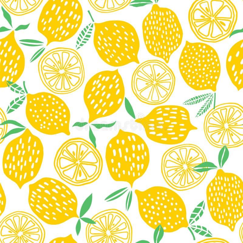 Illustrazione senza cuciture di vettore del modello del limone royalty illustrazione gratis