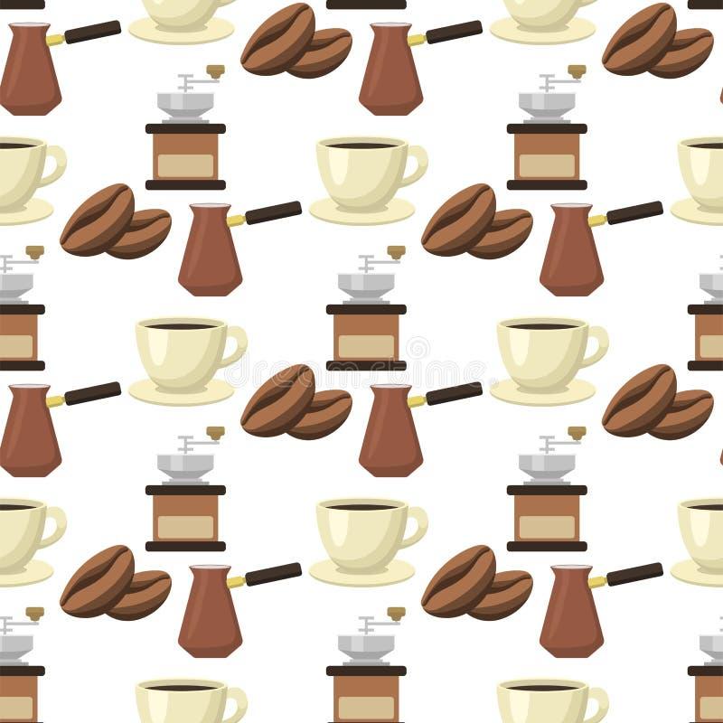 Illustrazione senza cuciture di vettore del ristorante di progettazione della bevanda dell'alimento del fondo del modello delle t illustrazione vettoriale