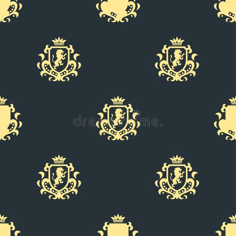 Illustrazione senza cuciture di vettore di identità di marca del modello del boutique della cresta di alta qualità dell'araldica  illustrazione vettoriale