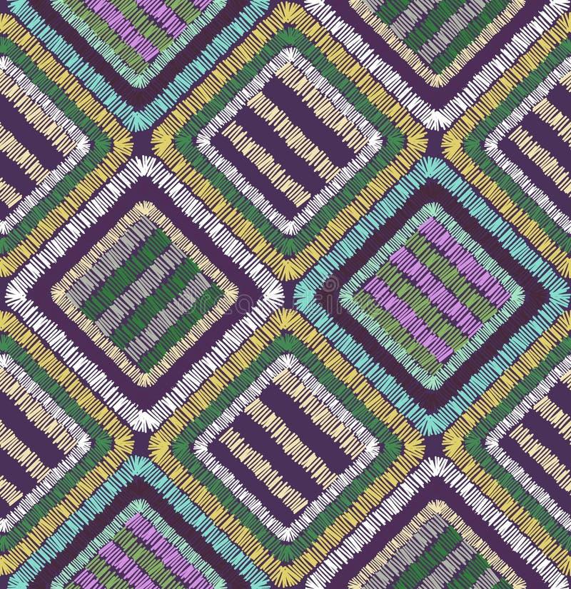 Illustrazione senza cuciture geometrica del modello di forme astratte del ricamo immagine stock