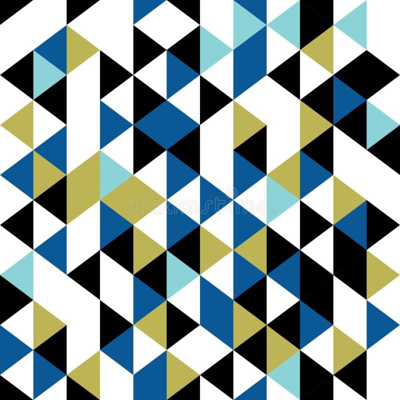 Illustrazione senza cuciture geometrica di vettore del modello del triangolo d'annata fondo astratto delle mattonelle di Memphis  royalty illustrazione gratis