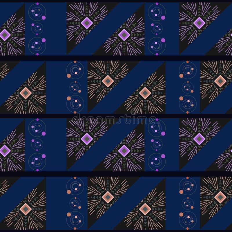 Illustrazione senza cuciture geometrica disegnata a mano etnica di vettore del modello per la stampa del tessuto di modo Fondo mu illustrazione vettoriale