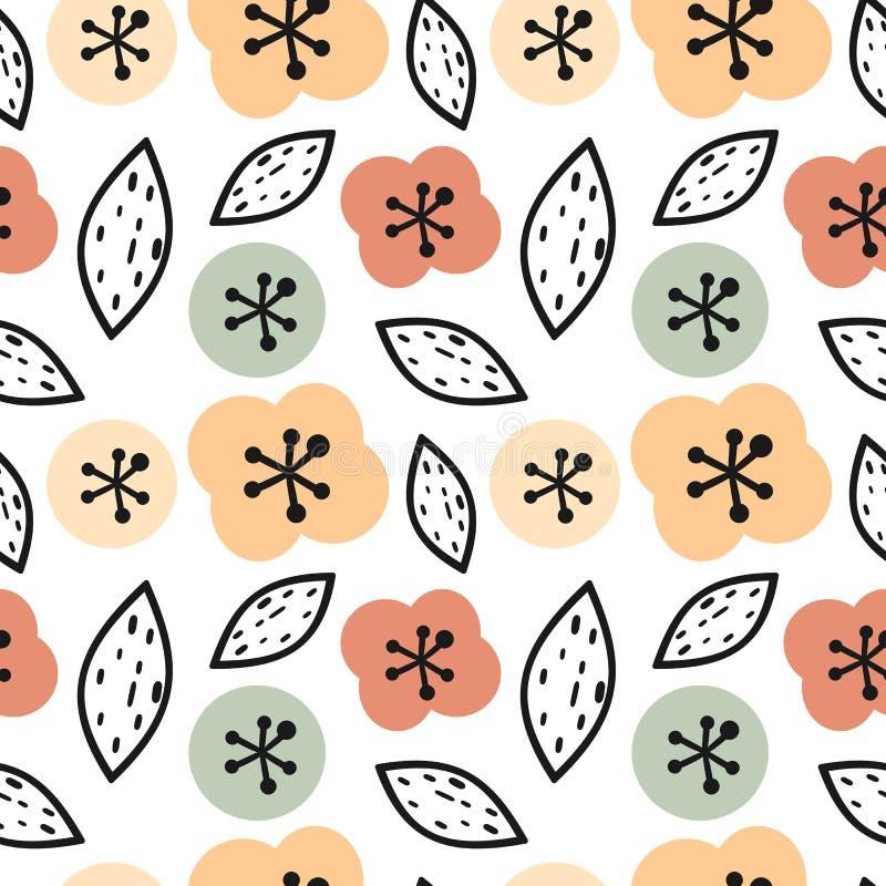 Illustrazione senza cuciture moderna sveglia del fondo del modello di vettore con i fiori e le foglie disegnati a mano astratti illustrazione vettoriale