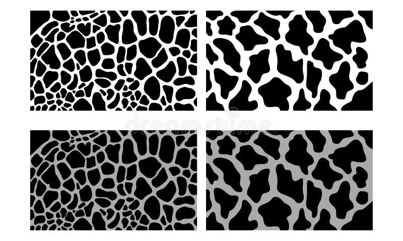 Illustrazione senza cuciture nera di struttura del modello della pelle di vettore della giraffa royalty illustrazione gratis