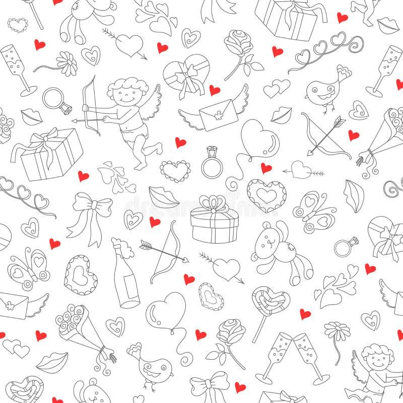 Illustrazione senza cuciture per il giorno del ` s del biglietto di S. Valentino, le icone semplici di contorno ed i cuori rossi  royalty illustrazione gratis