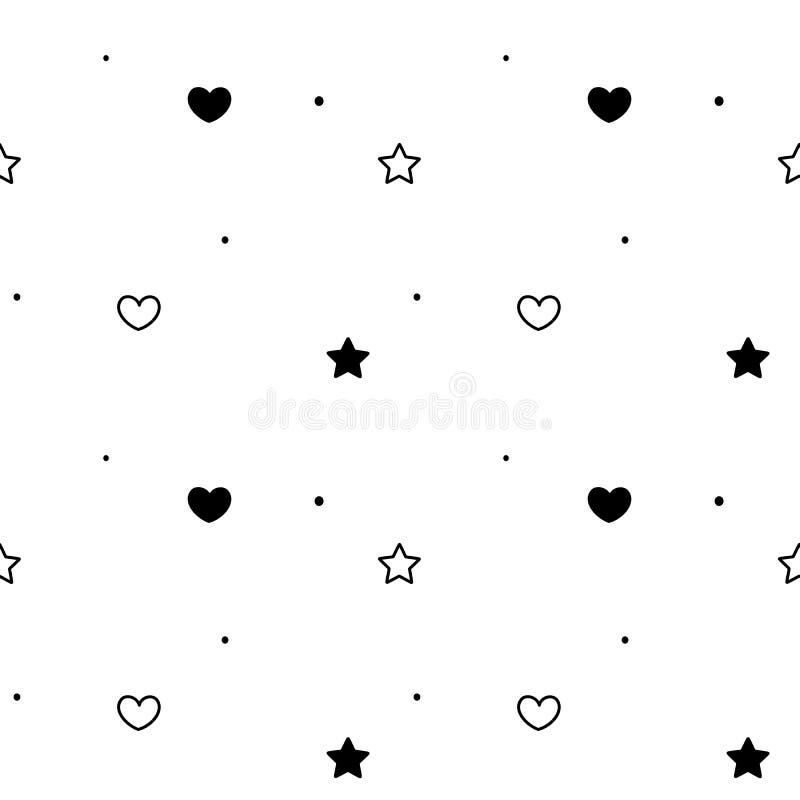 Illustrazione senza cuciture semplice bianca nera del fondo del modello con i cuori e le stelle illustrazione di stock