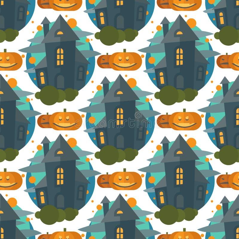 Illustrazione senza cuciture spettrale di vettore di progettazione di Halloween del modello del castello terribile triste oscuro  illustrazione vettoriale