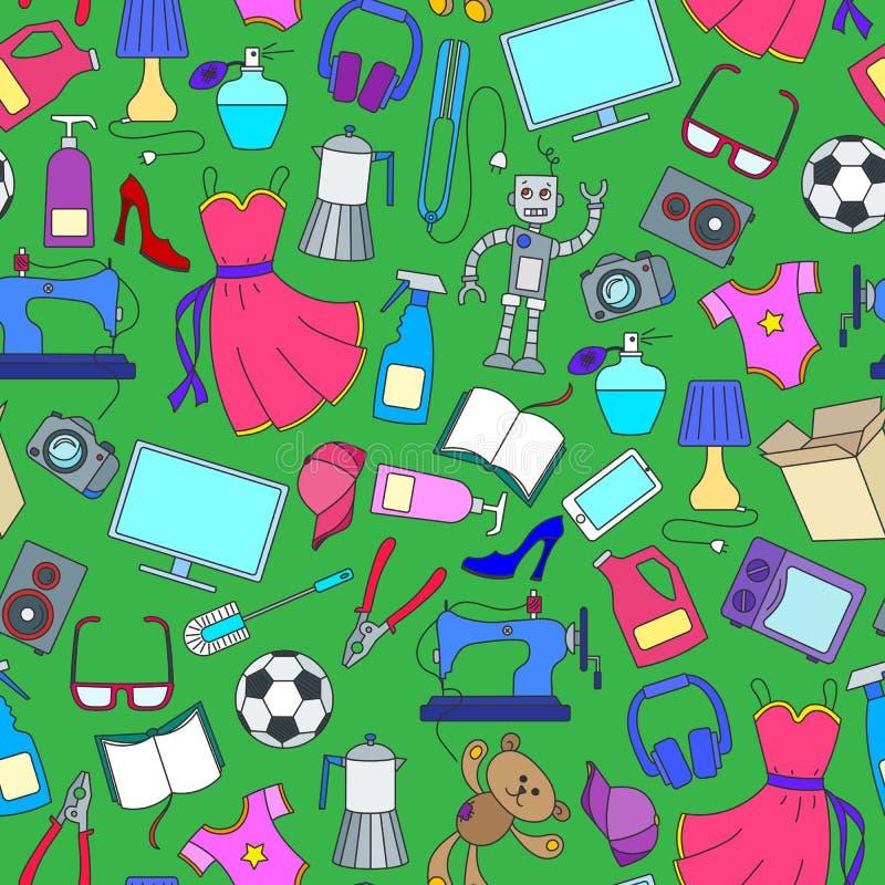 Illustrazione senza cuciture su vari prodotti ed acquisto, icone semplici dell'acquisto, icone di colore su fondo verde royalty illustrazione gratis