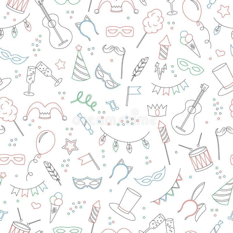 Illustrazione senza cuciture sul tema del travestimento e carnevale, icone colorate semplici di contorno su fondo bianco illustrazione vettoriale