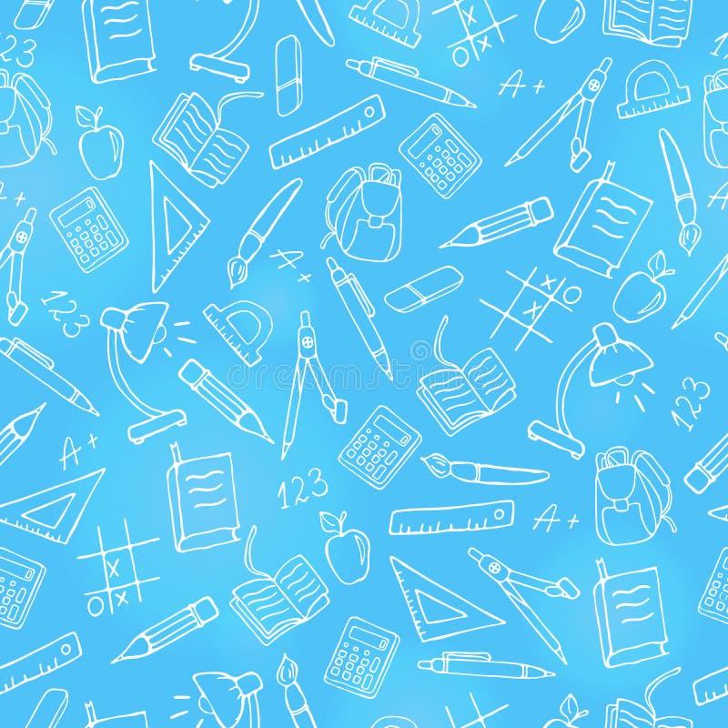 Illustrazione senza cuciture sul tema della scuola, icone disegnate a mano semplici di un contorno, contorno leggero su fondo blu royalty illustrazione gratis