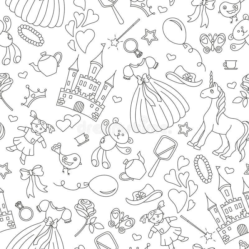 Illustrazione senza cuciture sul tema delle neonate di hobby, icone semplici di contorno, contorno nero su fondo bianco royalty illustrazione gratis