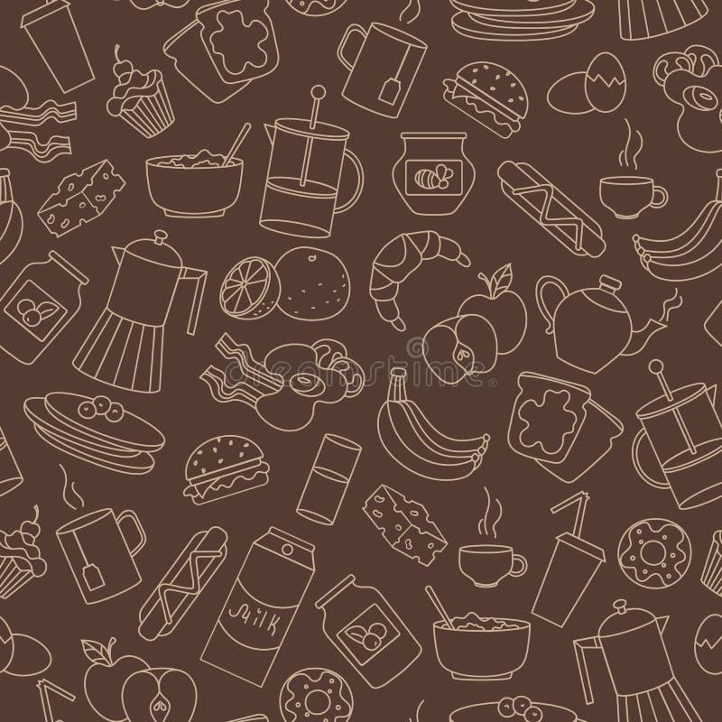 Illustrazione senza cuciture sul tema di alimento e della prima colazione, icone semplici di contorno, profili beige su un fondo  illustrazione vettoriale
