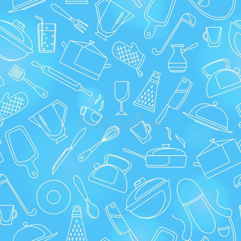 Illustrazione senza cuciture sul tema di cottura ed utensili della cucina, icone semplici di contorno, contorno bianco su fondo b illustrazione vettoriale