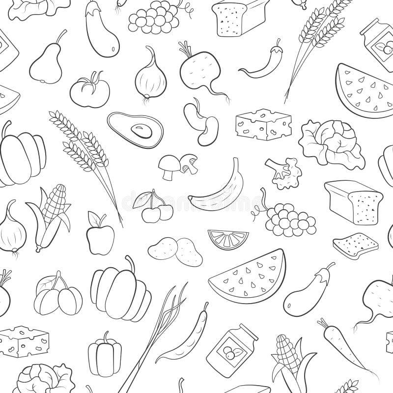 Illustrazione senza cuciture sul tema di vegetarianismo, icone della drogheria, icone semplici del nero del profilo su un fondo b royalty illustrazione gratis