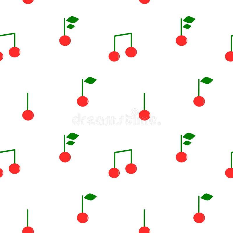 Illustrazione senza cuciture sveglia del fondo del modello delle note musicali della ciliegia del fumetto illustrazione di stock