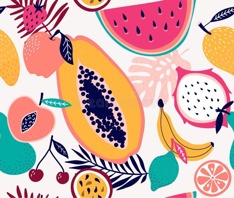 Illustrazione senza cuciture tropicale del modello della frutta fresca illustrazione vettoriale