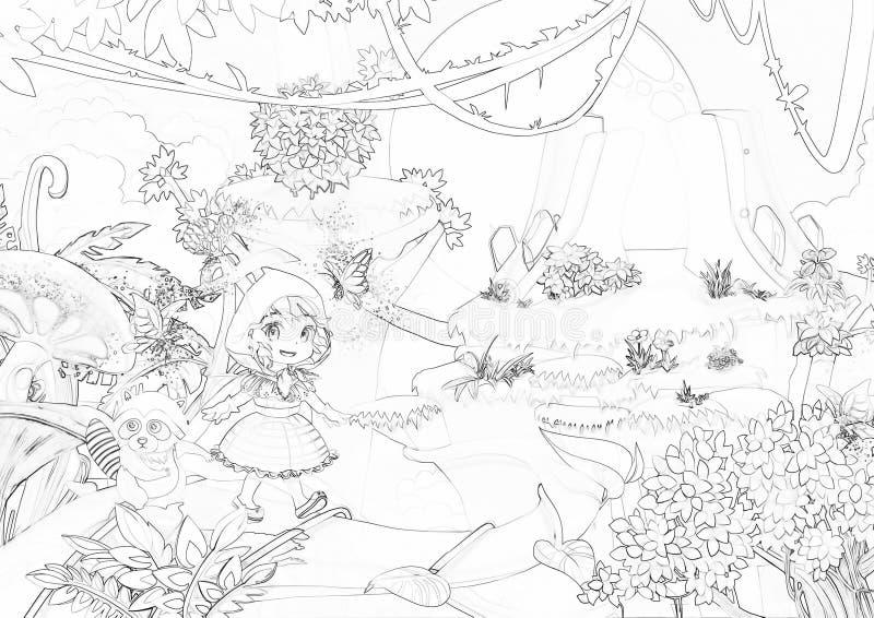 Illustrazione: Serie del libro da colorare: Camminando attraverso le montagne Linea sottile molle Stampilo e portilo a vita con c royalty illustrazione gratis