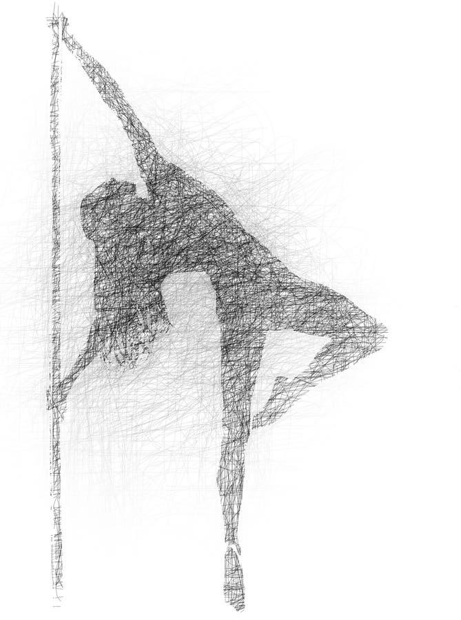 Illustrazione sexy del ballerino del palo illustrazione vettoriale