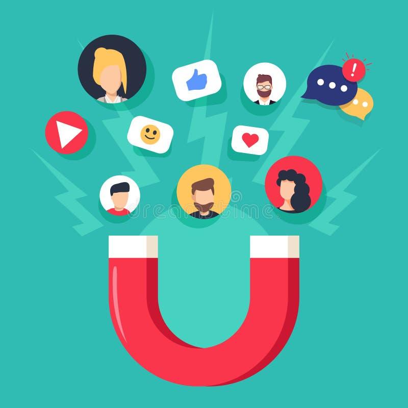 Illustrazione sociale di concetto di media con i seguaci d'aggancio ed i simili del magnete Vendita di influenza illustrazione di stock
