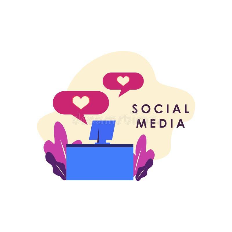 Illustrazione sociale di concetto di media per l'illustrazione di progettazione del modello Web fotografie stock