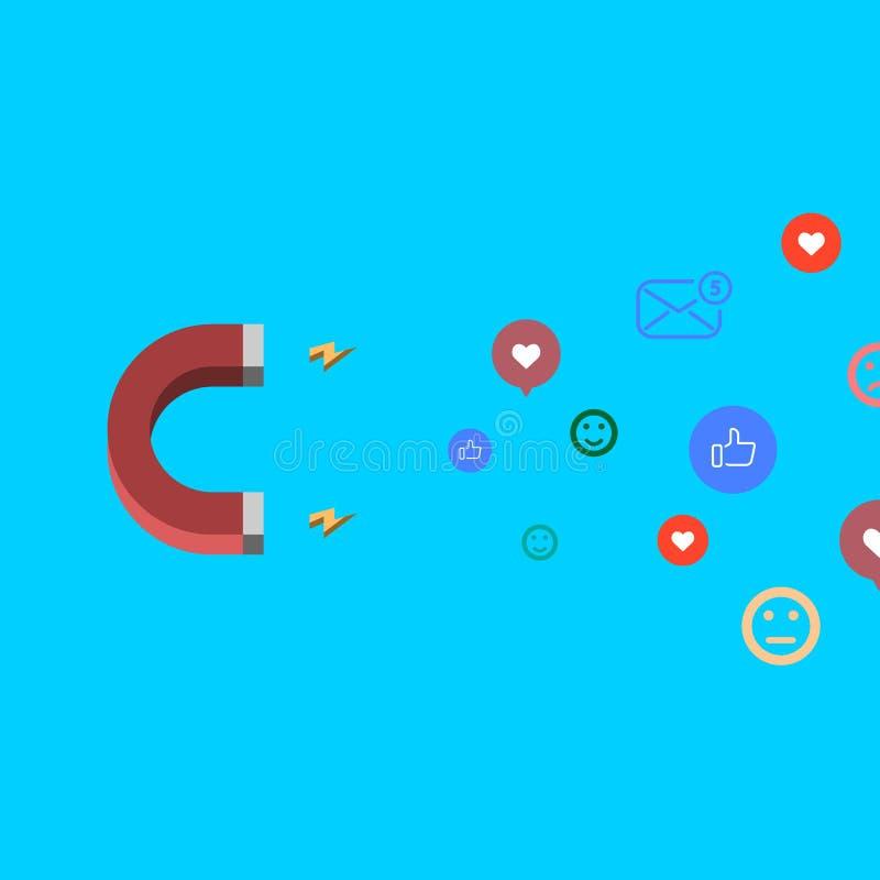 Illustrazione sociale di vettore di concetto di media con i seguaci d'aggancio ed il simile del magnete royalty illustrazione gratis