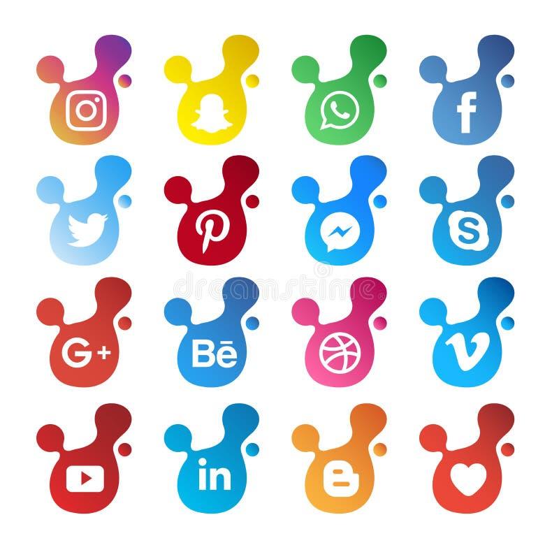 Illustrazione sociale moderna di vettore dell'icona di media royalty illustrazione gratis