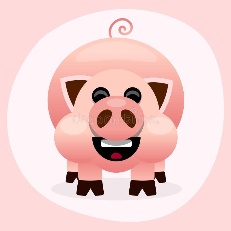 Illustrazione sorridente del maiale rosa del fumetto su fondo bianco illustrazione di stock